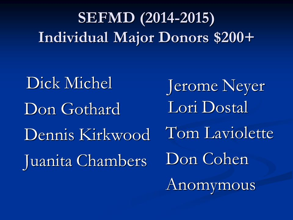 SEFMD (2014-2015) Individual Major Donors $200+