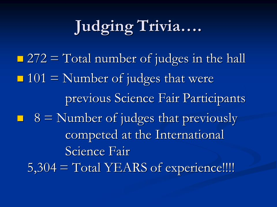 Judging Trivia…. 272 = Total number of judges in the hall