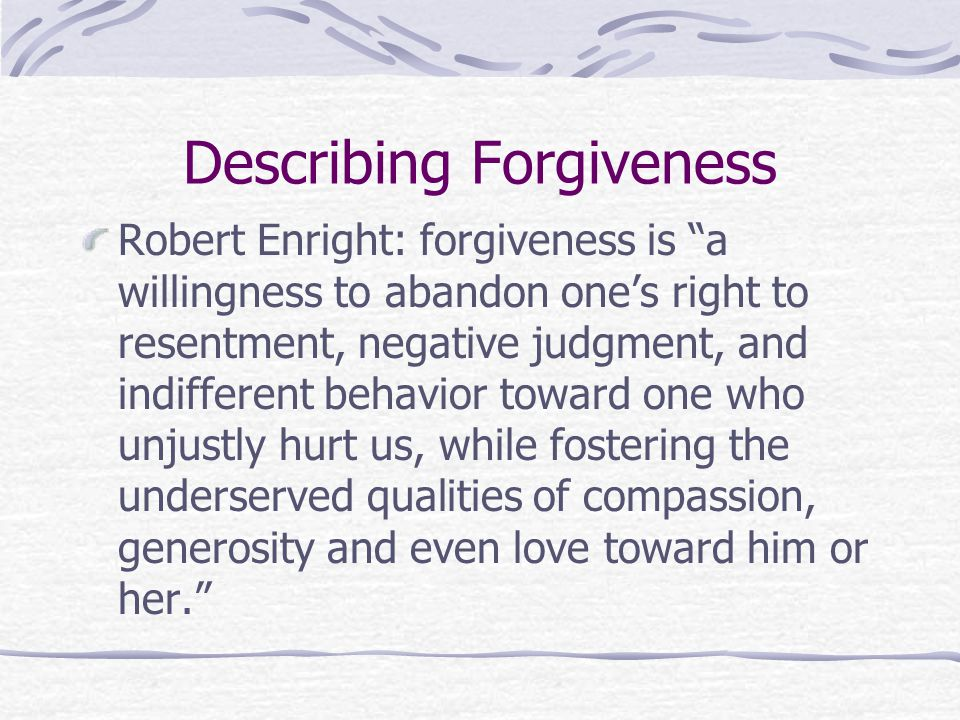 Describing Forgiveness