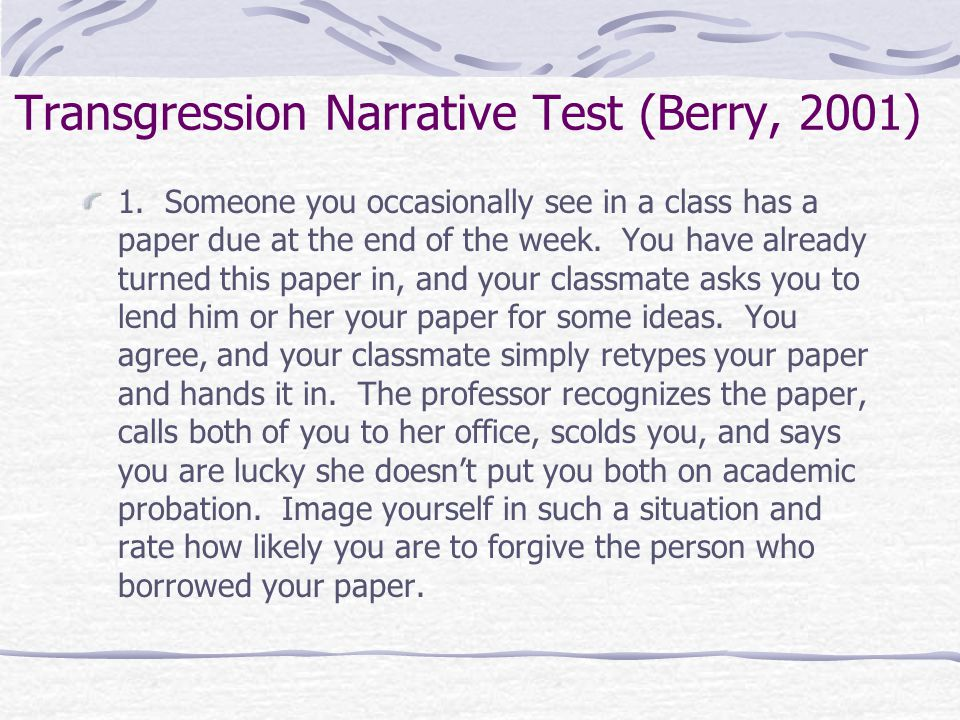 Transgression Narrative Test (Berry, 2001)
