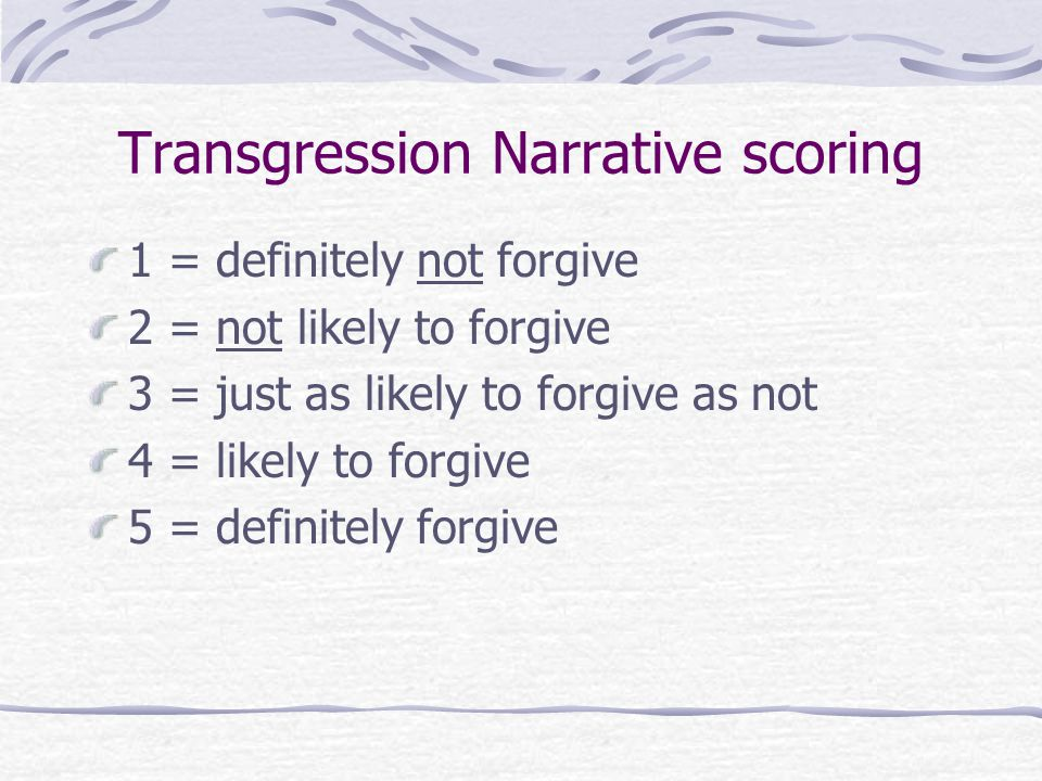 Transgression Narrative scoring