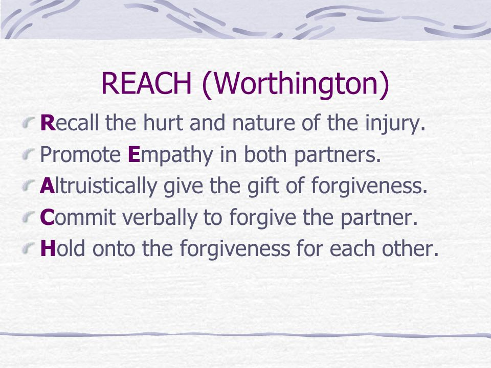 REACH (Worthington) Recall the hurt and nature of the injury.
