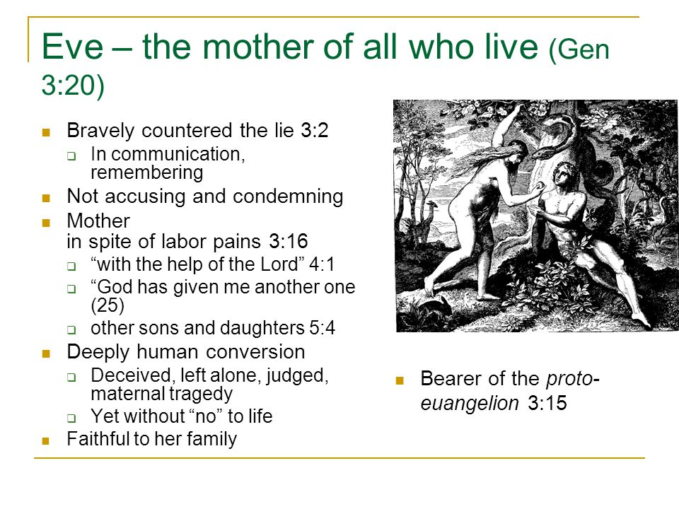 Eve – the mother of all who live (Gen 3:20)