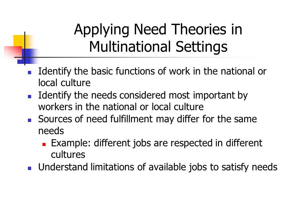 Applying Need Theories in Multinational Settings