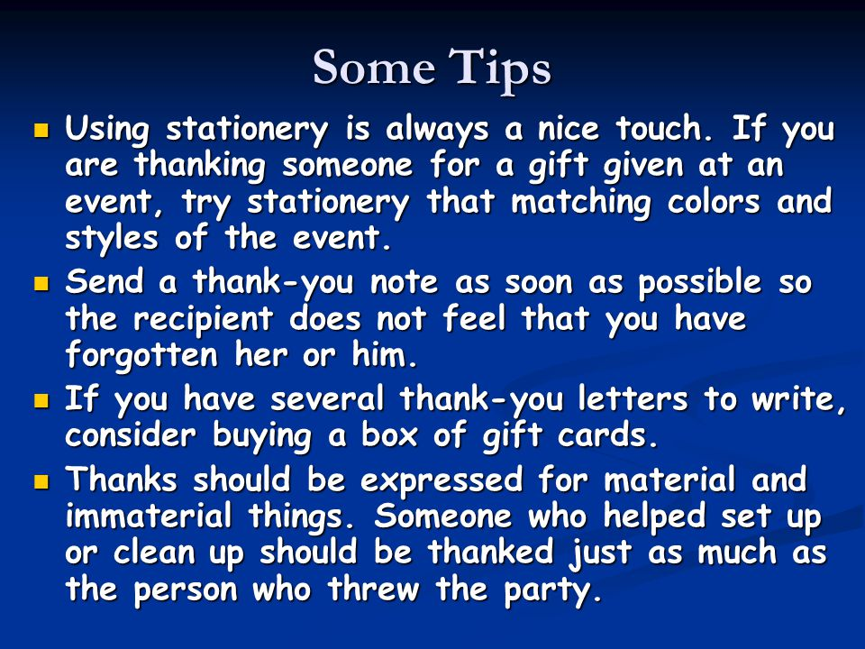 Some Tips