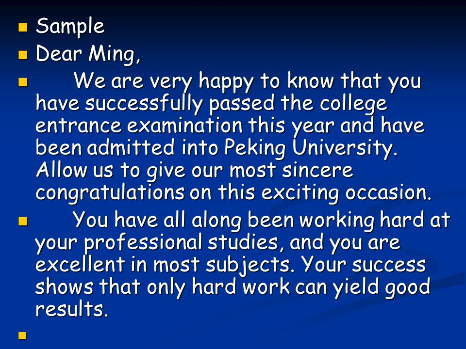 Sample Dear Ming,