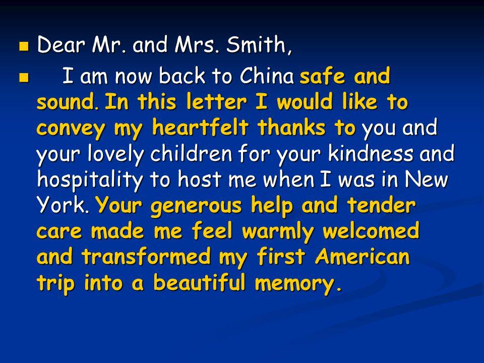 Dear Mr. and Mrs. Smith,