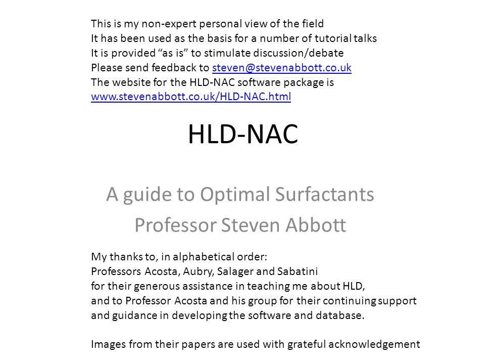 A guide to Optimal Surfactants Professor Steven Abbott