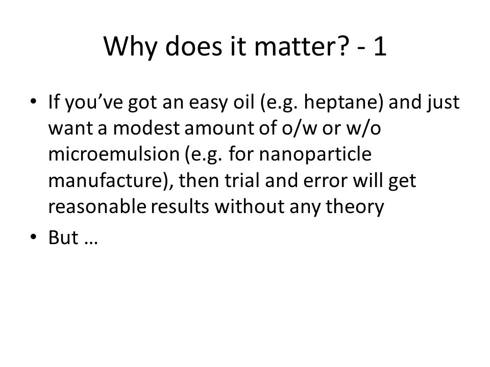 Why does it matter - 1