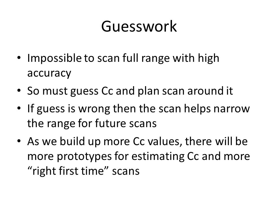 Guesswork Impossible to scan full range with high accuracy