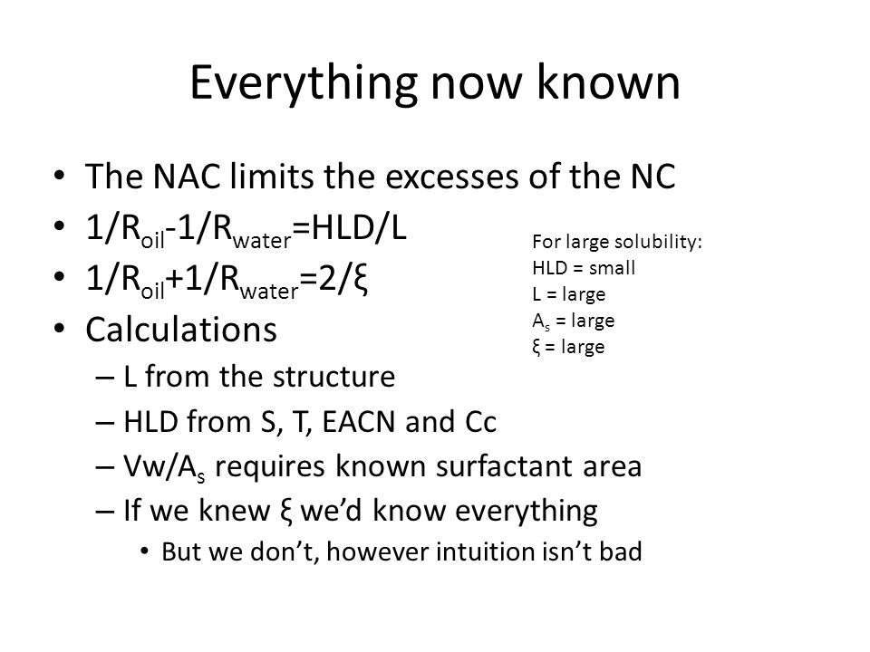 Everything now known The NAC limits the excesses of the NC