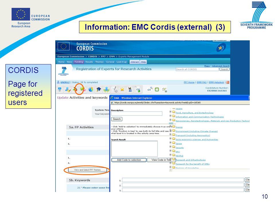 Information: EMC Cordis (external) (3)