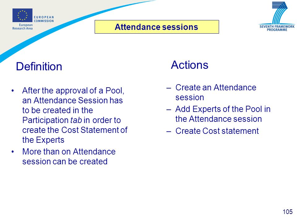 Definition Actions Attendance sessions Create an Attendance session