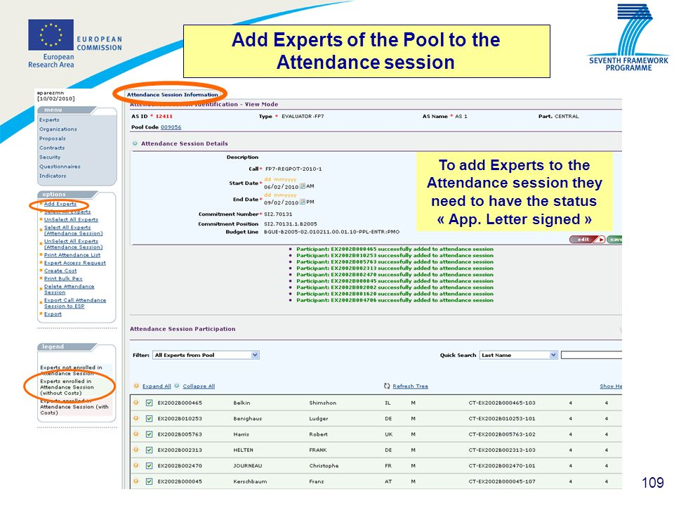 Add Experts of the Pool to the Attendance session