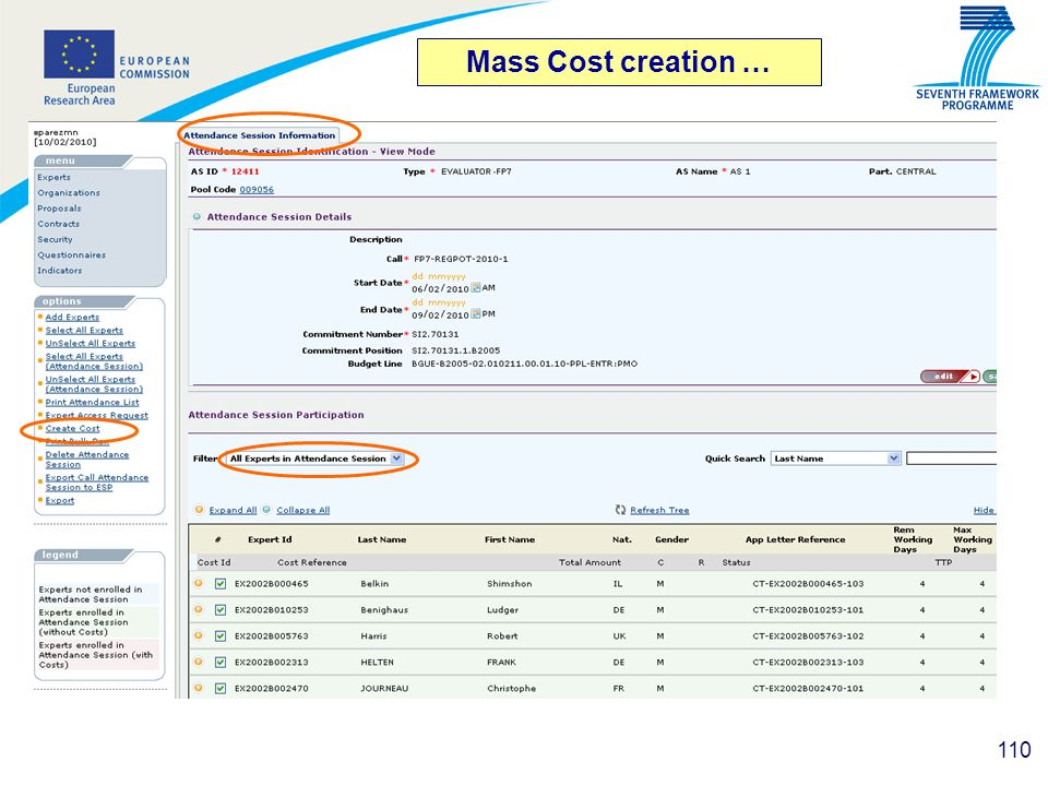 Mass Cost creation …