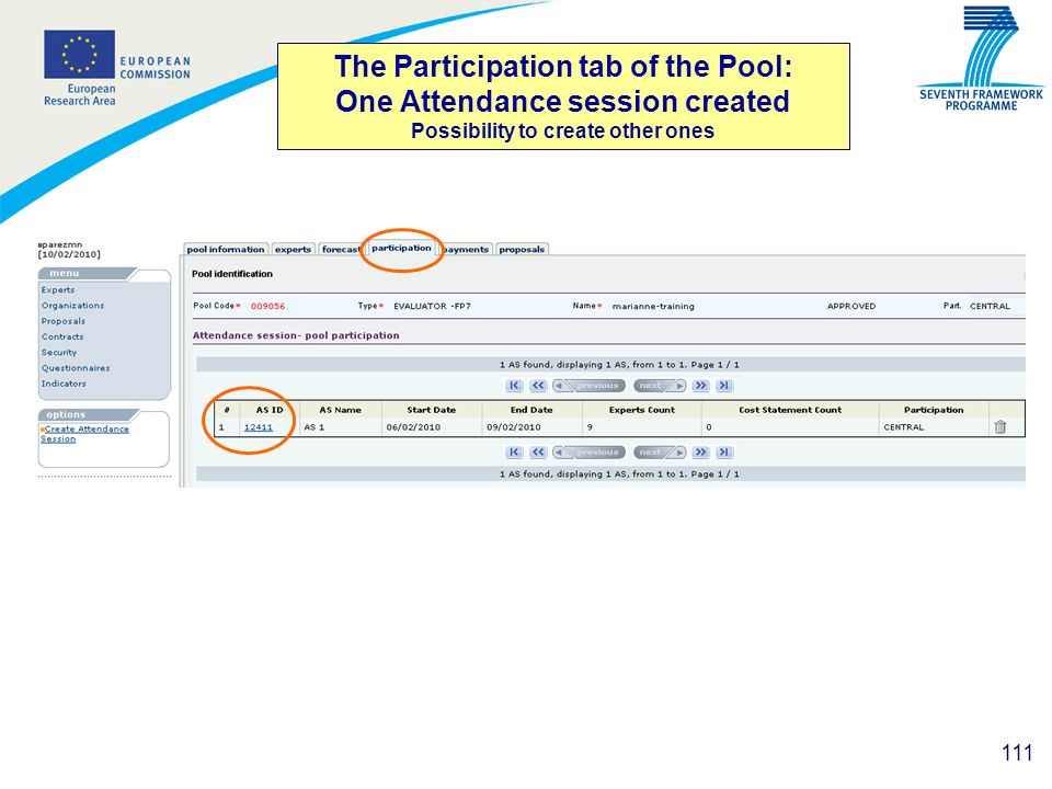 The Participation tab of the Pool: One Attendance session created Possibility to create other ones