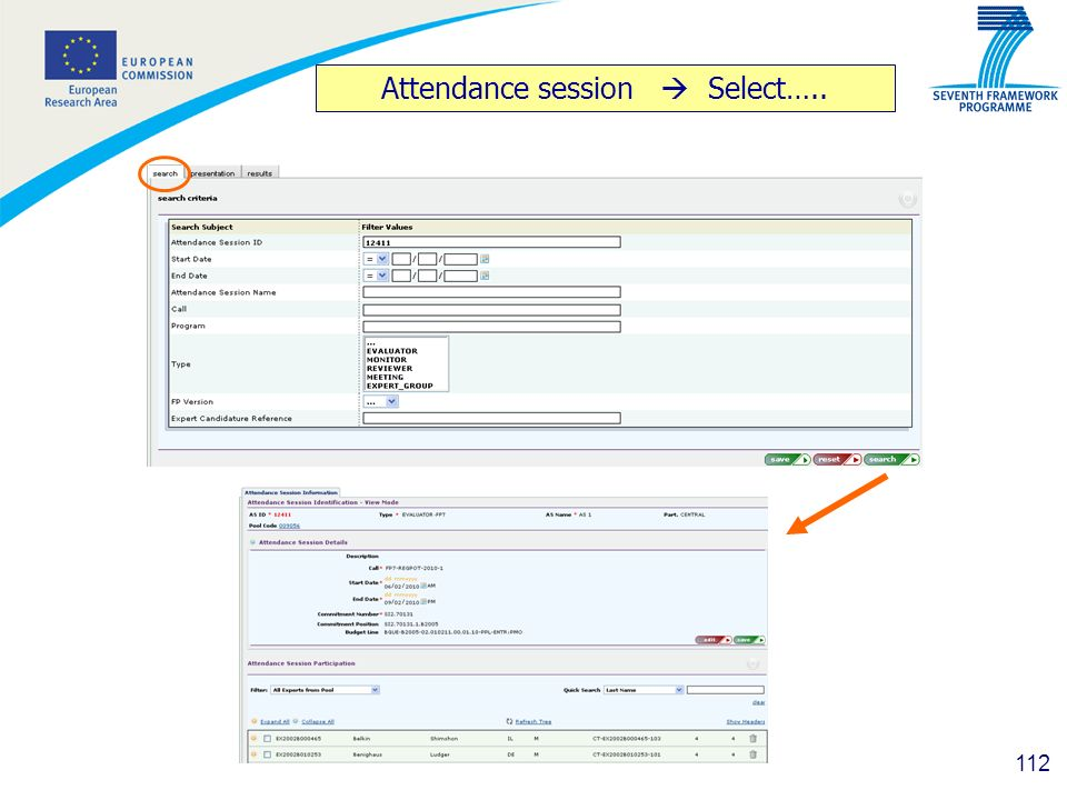 Attendance session  Select…..