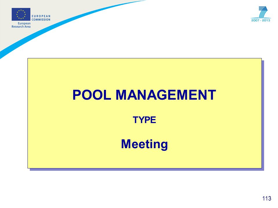 POOL MANAGEMENT TYPE Meeting
