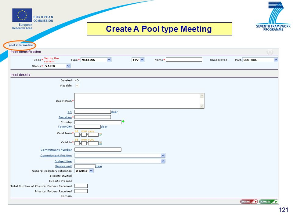 Create A Pool type Meeting
