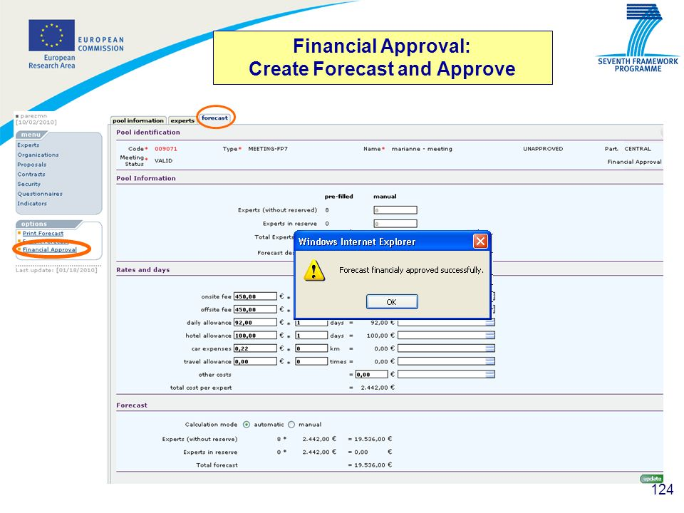 Financial Approval: Create Forecast and Approve