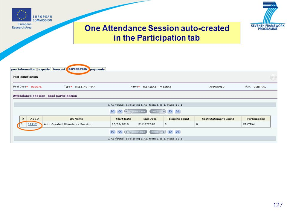 One Attendance Session auto-created in the Participation tab