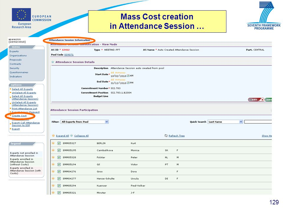 Mass Cost creation in Attendance Session …