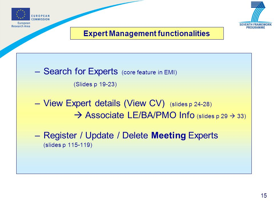 Expert Management functionalities