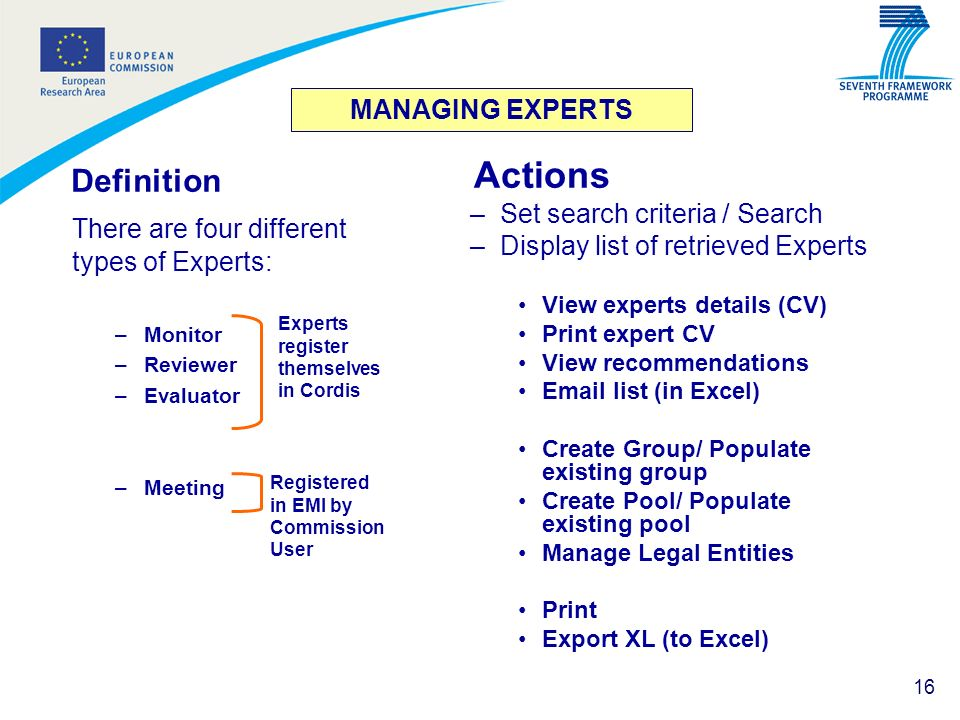 Actions Definition There are four different types of Experts: