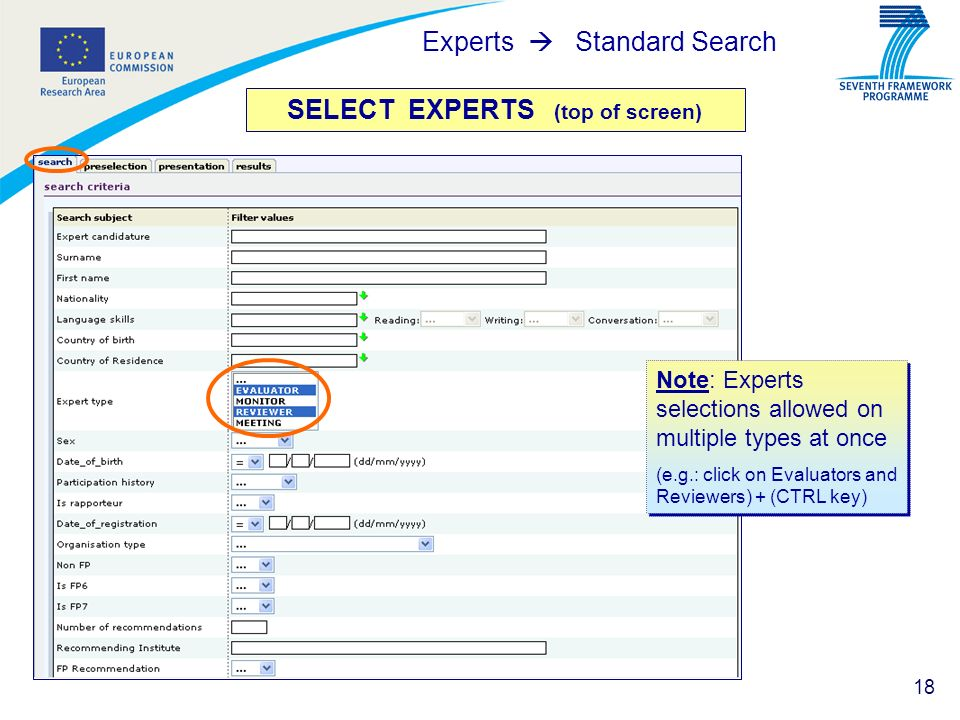 SELECT EXPERTS (top of screen)