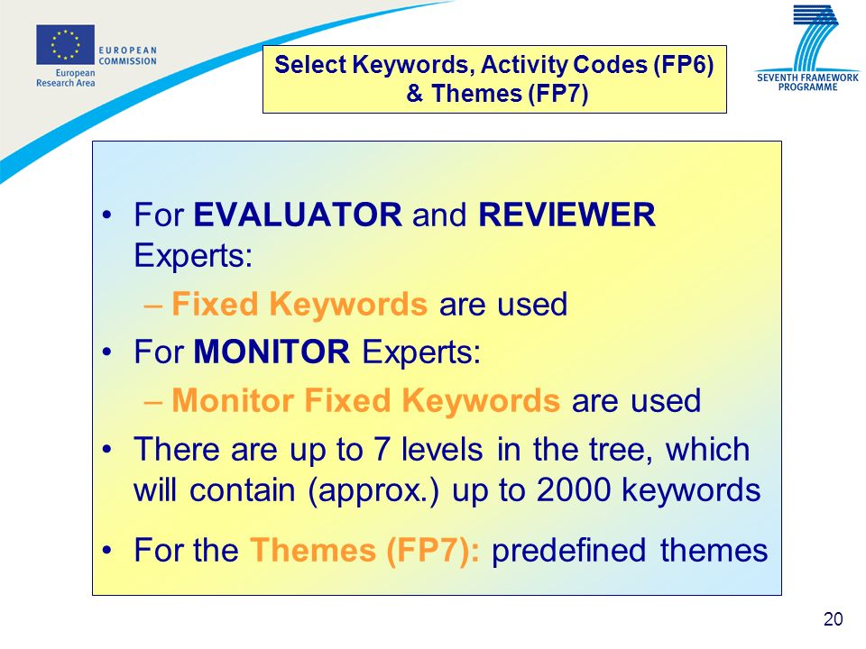 Select Keywords, Activity Codes (FP6) & Themes (FP7)