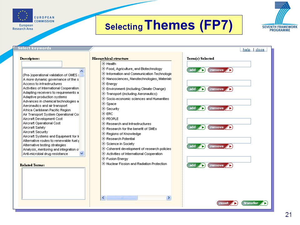 Selecting Themes (FP7)