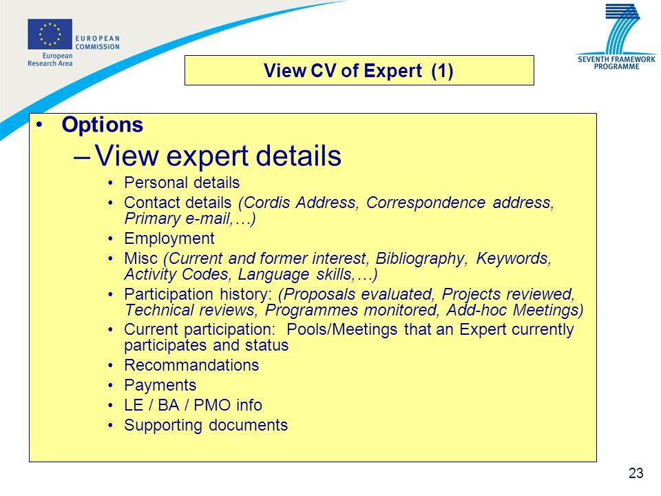 View expert details Options View CV of Expert (1) Personal details