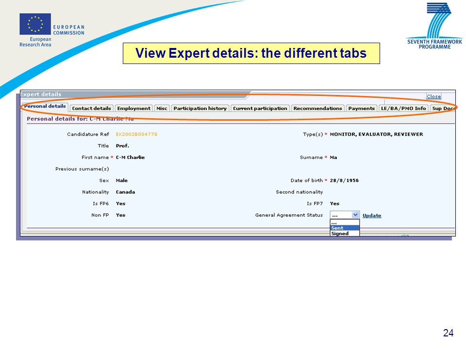 View Expert details: the different tabs