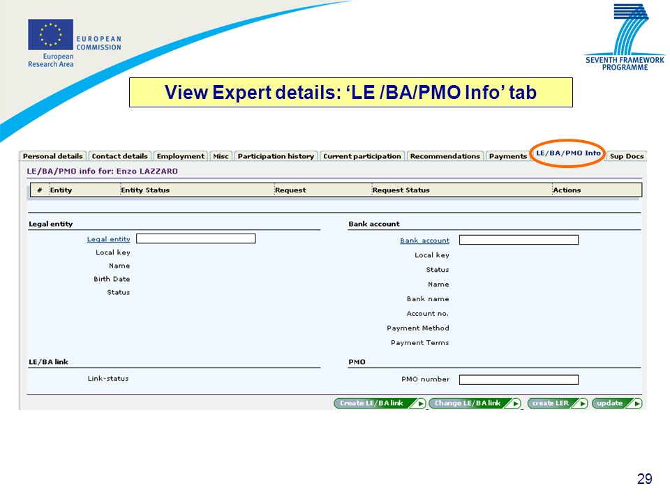 View Expert details: 'LE /BA/PMO Info' tab