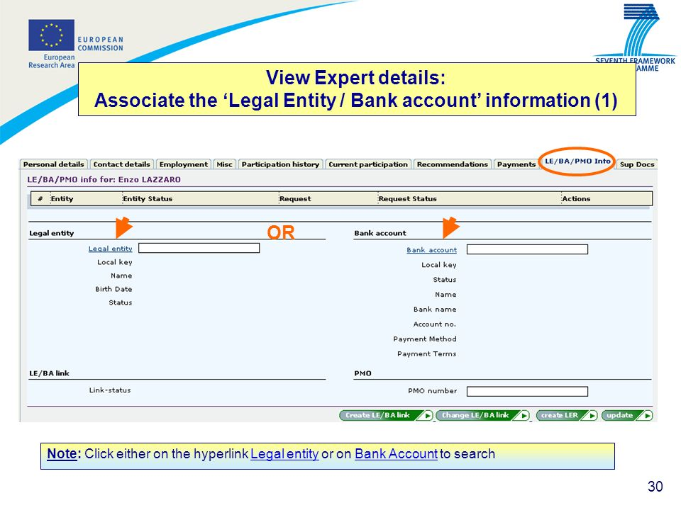 View Expert details: Associate the 'Legal Entity / Bank account' information (1)