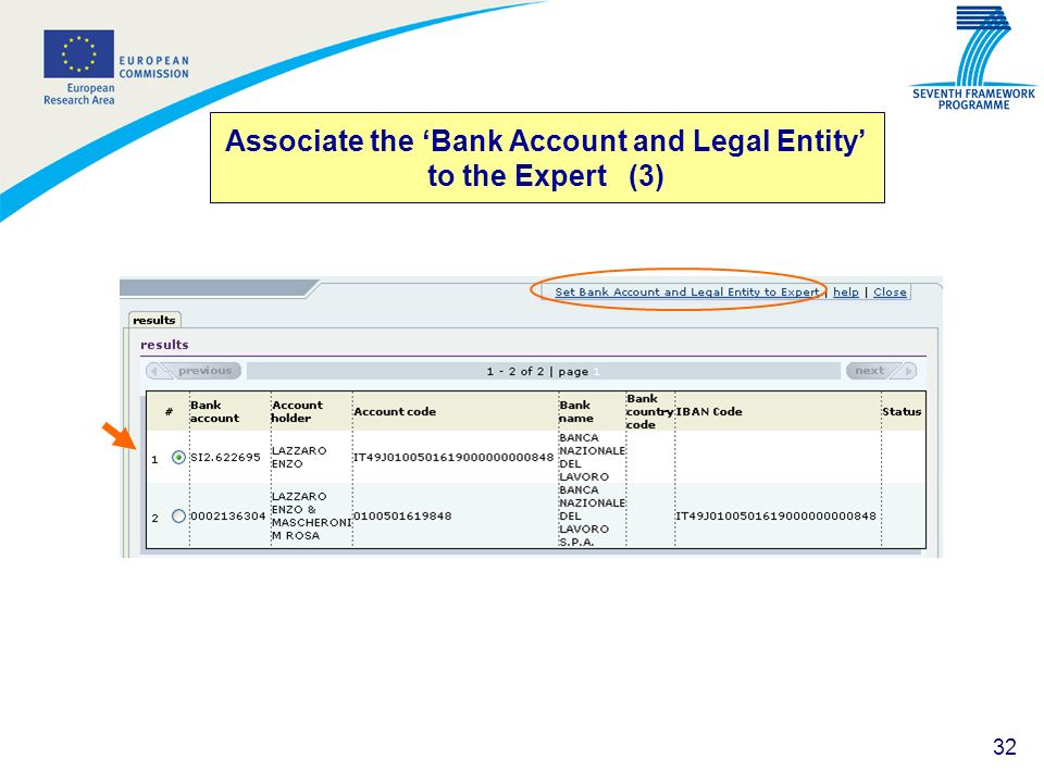 Associate the 'Bank Account and Legal Entity' to the Expert (3)
