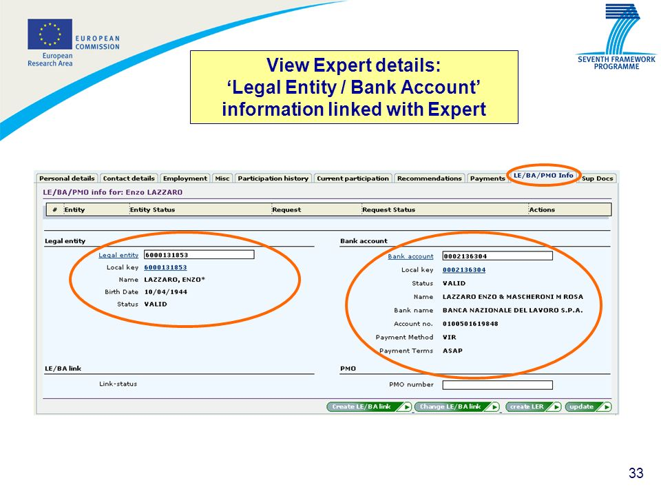 View Expert details: 'Legal Entity / Bank Account' information linked with Expert