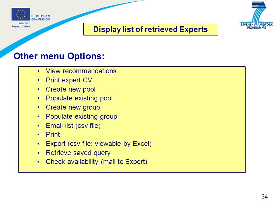Display list of retrieved Experts