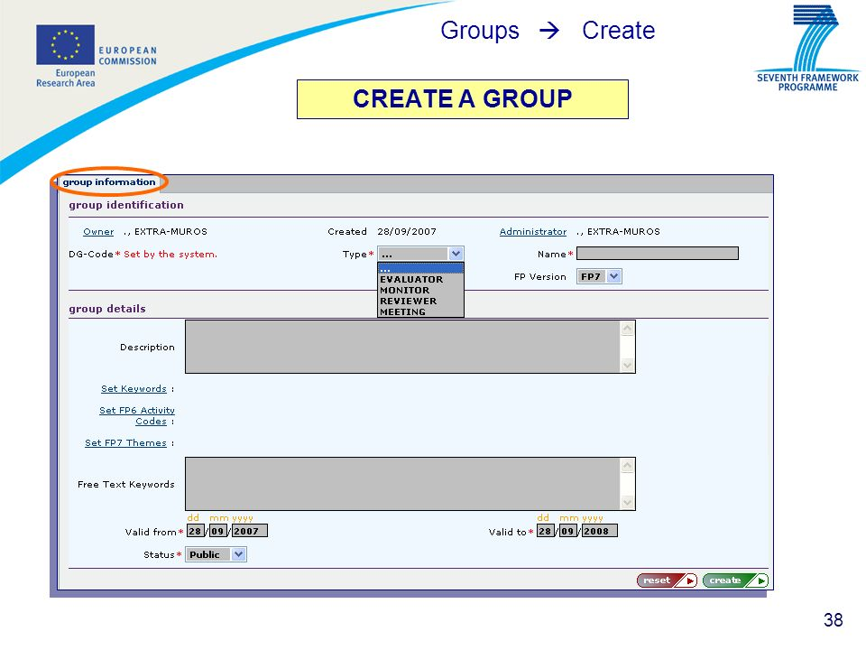 Groups  Create CREATE A GROUP
