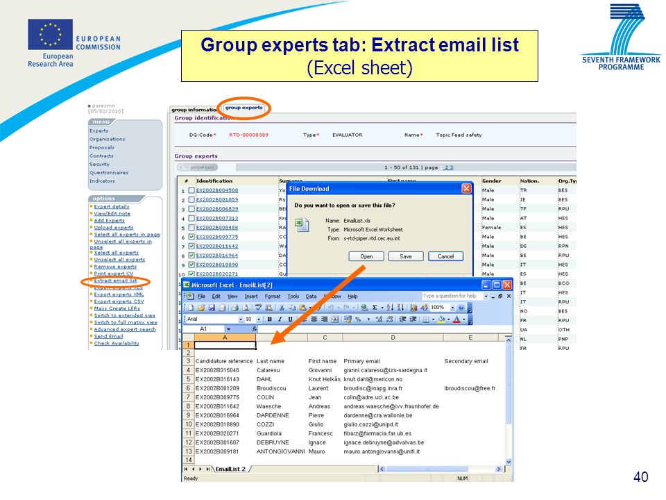 Group experts tab: Extract email list (Excel sheet)