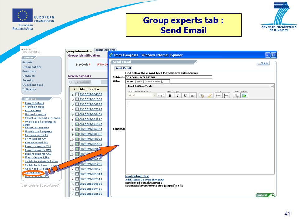 Group experts tab : Send Email
