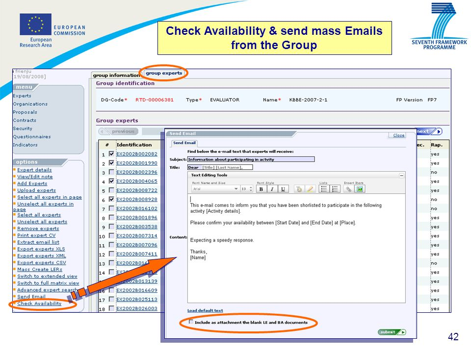 Check Availability & send mass Emails from the Group