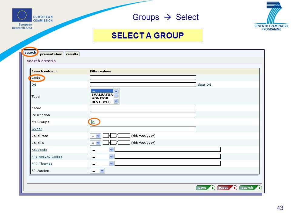 Groups  Select SELECT A GROUP