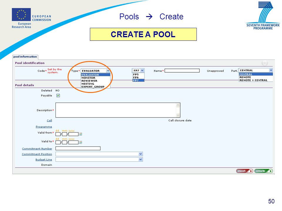 Pools  Create CREATE A POOL