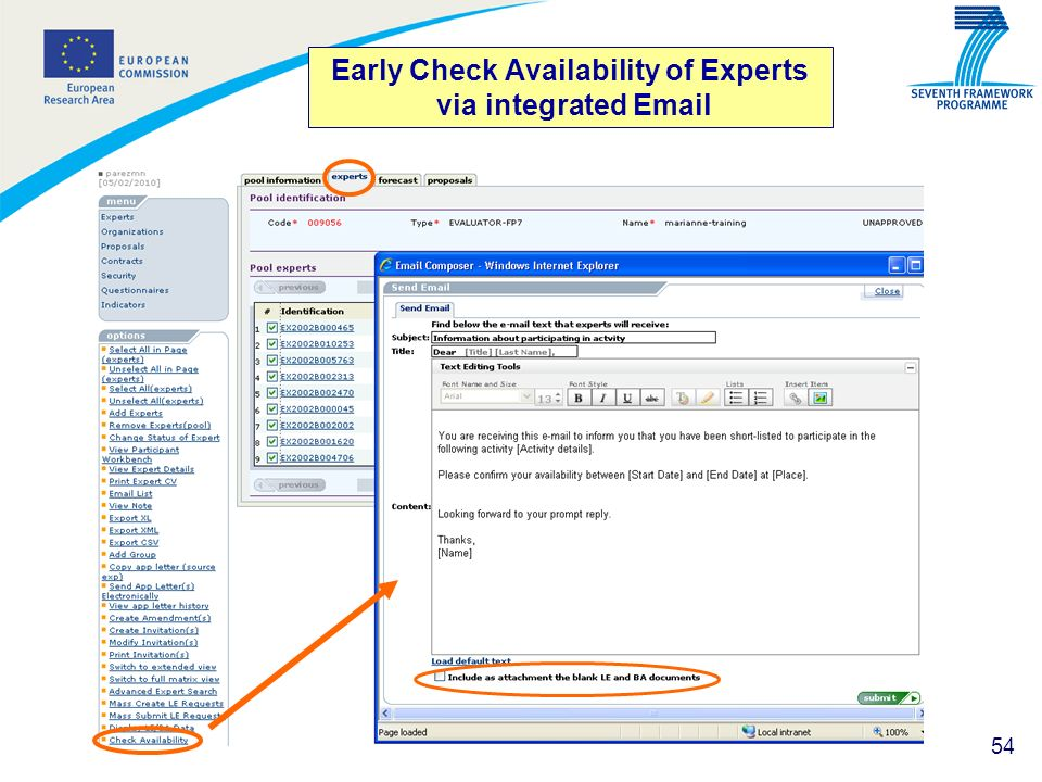 Early Check Availability of Experts via integrated Email