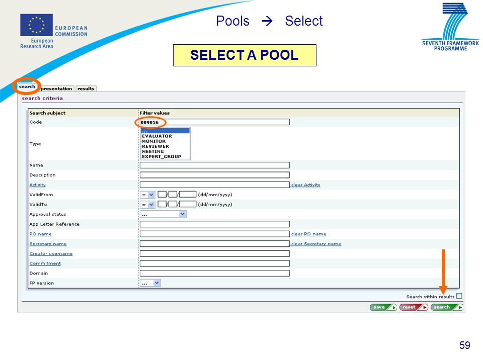 Pools  Select SELECT A POOL