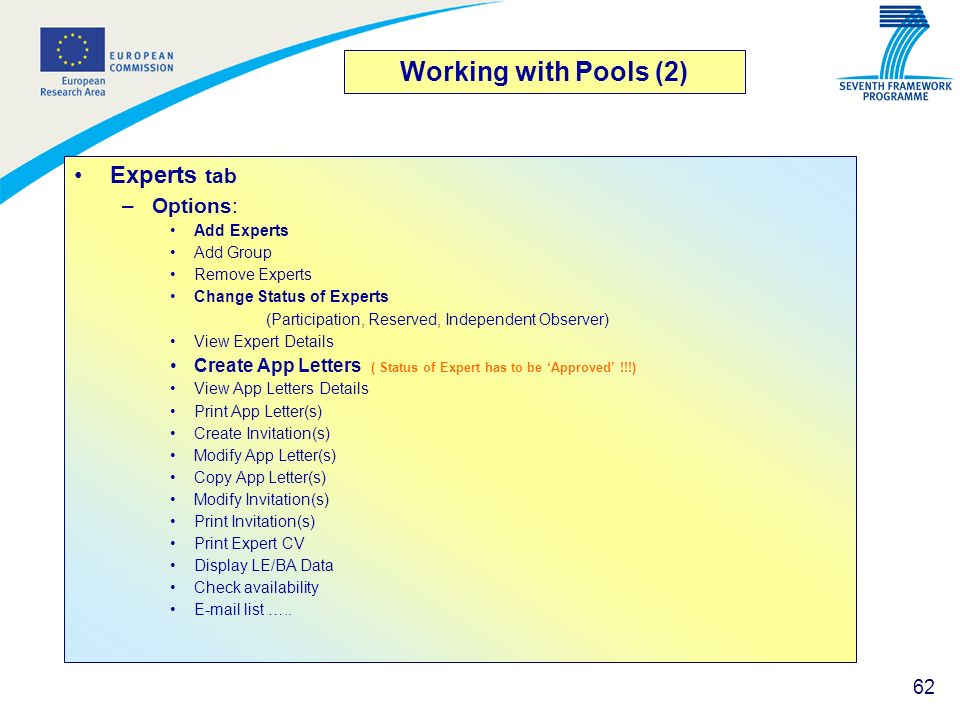 Working with Pools (2) Experts tab Options:
