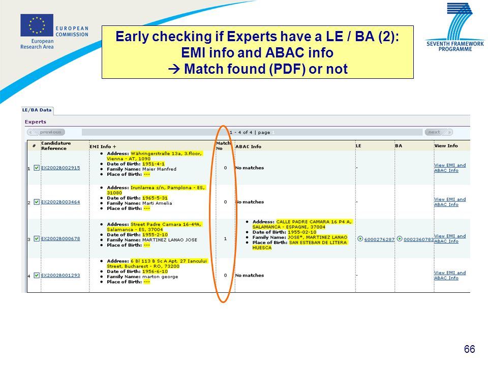 Early checking if Experts have a LE / BA (2): EMI info and ABAC info  Match found (PDF) or not