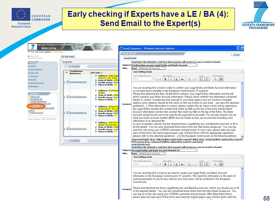 Early checking if Experts have a LE / BA (4): Send Email to the Expert(s)