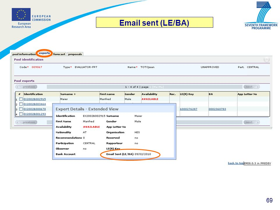 Email sent (LE/BA)